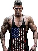 זול חולצות פולו לגברים-פסים צווארון עגול פעיל ספורט / חוף כותנה, עליונית טנק - בגדי ריקוד גברים עם רצועות איקס / דפוס / ללא שרוולים