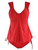 رخيصةأون ملابس السباحة والبيكيني 2017 للنساء-XL XXL XXXL لون سادة, ملابس السباحة قعطة واحدة أحمر قبة مرتفعة حول الرقبة صلب دانتيل نسائي