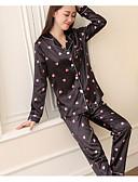 ieftine Robe & Pijamale-Pentru femei Bumbac Guler Cămașă Costume Pijamale Mată