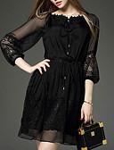 hesapli Romantik Dantel-Kadın's Dışarı Çıkma Şifon Elbise - Solid, Dantel Diz üstü