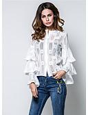 זול חולצה-צבע אחיד קלסי ונצחי תחרה, חולצה - בגדי ריקוד נשים סגנון אמנותי / אביב / סתיו