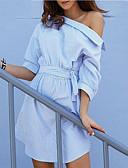 رخيصةأون فساتين للنساء-أزرق غير متماثل كتف واحد مرتفع مخطط - فستان فضفاض غمد أناقة الشارع ذهاب للخارج عطلة للمرأة