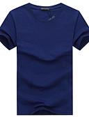 Χαμηλού Κόστους Ανδρικά μπλουζάκια και φανελάκια-Ανδρικά Μεγάλα Μεγέθη T-shirt Αθλητικά Βαμβάκι Μονόχρωμο Στρογγυλή Λαιμόκοψη Τρύπα