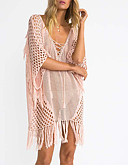 cheap Bikinis-Women's Crochet Pink Cover-Up Swimwear - Solid Colored Tassel One-Size Pink