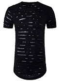 cheap Men's Tees & Tank Tops-Men's Punk & Gothic Cotton Slim T-shirt - Solid Colored Hole Round Neck / Short Sleeve