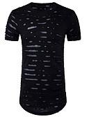 baratos Biquínis e Roupas de Banho Femininas-Homens Camiseta Activo Buraco, Sólido Algodão Decote Redondo Delgado