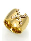 hesapli Tişört-Erkek Yüzük başparmak halkası Kübik Zirconia Titanyum Çelik Bayan Kişiselleştirilmiş Wzór geometryczny Rock Yıldızı Çift katman Moda Moda Yüzükler Mücevher Altın / Gümüş / Gül Uyumluluk Düğün Parti