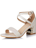 cheap Women's Dresses-Women's Shoes Faux Leather Spring / Summer Comfort Sandals Walking Shoes Chunky Heel Open Toe Buckle Beige / Blue / Pink / Block Heel Sandals