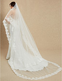 cheap Wedding Dresses-One-tier Lace Applique Edge Wedding Veil Cathedral Veils with Embroidery 181.1 in (460cm) Lace / Tulle / Mantilla