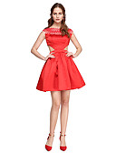cheap Cocktail Dresses-A-Line / Fit & Flare Boat Neck / Bateau Neck Short / Mini Satin Cocktail Party / Prom Dress with Lace / Pleats by TS Couture®