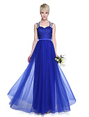cheap Evening Dresses-Blue A-Line Spaghetti Strap Floor Length Tulle Bridesmaid Dress with Beading / Pleats by LAN TING BRIDE®