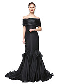 cheap Evening Dresses-Mermaid / Trumpet Off Shoulder Sweep / Brush Train Stretch Satin Formal Evening / Black Tie Gala Dress with Pleats by TS Couture®