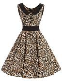 baratos Vestidos de Mulher-Mulheres Vintage Algodão balanço Vestido Leopardo Altura dos Joelhos