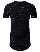 baratos Camisetas & Regatas Masculinas-Homens Camiseta - Esportes Activo Vazado Com Transparência, Sólido Algodão Decote Redondo