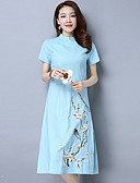 cheap Women's Dresses-Women's Chinoiserie A Line Dress - Floral Floral Style High Rise Stand
