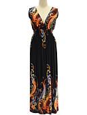 baratos Vestidos Femininos-Mulheres Tamanhos Grandes Boho balanço Vestido - Frente Única / Estampado, Abstrato Decote em V Profundo Longo
