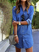 cheap Women's Jumpsuits & Rompers-Women's Cotton T Shirt Dress - Solid Colored Blue Shirt Collar