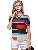 cheap Leggings-Women's Plus Size Puff Sleeve Blouse - Color Block Print / Spring / Summer