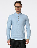 cheap Men's Shirts-Men's Basic Linen Shirt - Solid Colored Stand / Long Sleeve / Spring / Fall