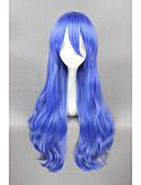 저렴한 여성 드레스-인조 합성 가발 / 코스튬 가발 곱슬한 인조 합성 헤어 블루 가발 여성용 짧음 캡 없음