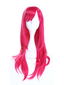 baratos Relógios da Moda-Perucas sintéticas / Perucas de Fantasia Liso Rosa Cabelo Sintético Rosa Peruca Mulheres Longo Sem Touca Rosa