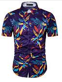 baratos Camisas Masculinas-Homens Camisa Social - Praia Estampado Algodão