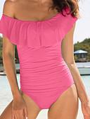 cheap Women's Swimwear & Bikinis-Women's Off Shoulder Solid Black Pink Yellow Dress One-piece Swimwear - Solid Colored Classic Style L XL XXL