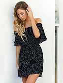 cheap Dresses For Date-Women's Off Shoulder Daily / Holiday / Going out Street chic Sheath Dress - Polka Dot Black Boat Neck Summer Black M L XL