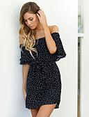 olcso Dresses For Date-Női Utcai sikk Nadrág - Pöttyös Fekete Fekete / Csónaknyak / Szabadság / Alkalmi / Aszimmetrikus