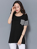 cheap Women's Dresses-Women's Basic Plus Size Cotton T-shirt - Striped Patchwork
