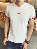 baratos Camisetas & Regatas Masculinas-Homens Camiseta Estampado, Sólido Algodão