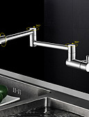 baratos Aço Inoxidável-Moderna pot Filler Montagem de Parede Rotativo Válvula Cerâmica Monocomando e Uma Abertura Cromado, Torneira de Cozinha