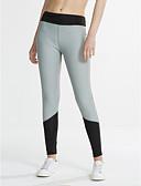hesapli Kadın Pantolonl-Kadın's Polyester Orta Koyu Renkli Legging, Zıt Renkli Siyah Fuşya
