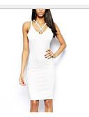 저렴한 여성 드레스-여성용 데이트 면 A 라인 바디콘 드레스 - 솔리드 낮은 밑위 무릎 위 V 넥