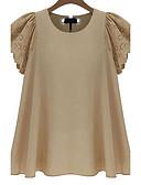 billige T-shirt-Dame - Ensfarvet Bomuld Plusstørrelser T-shirt / Sommer