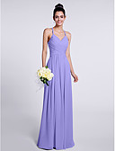 cheap Bridesmaid Dresses-Sheath / Column Spaghetti Strap Floor Length Chiffon Bridesmaid Dress with Criss Cross by LAN TING BRIDE® / Open Back