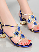 cheap Mother of the Bride Dresses-Women's Shoes Nappa Leather / Glitter Summer Club Shoes Sandals Chunky Heel Rhinestone Gold / Purple / Blue / Party & Evening