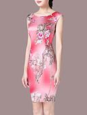 رخيصةأون فساتين للنساء-فستان نسائي قياس كبير ثوب ضيق فوق الركبة ورد مناسب للخارج / نحيل