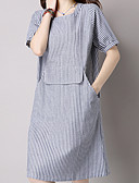 cheap Women's Sweaters-Women's Work Going out Cute Chinoiserie Cotton Loose Dress - Striped