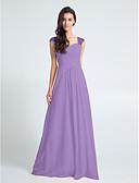 hesapli Nedime Elbiseleri-Sütun Kraliçe Yaka Yere Kadar Şifon Haç ile Nedime Elbisesi tarafından LAN TING BRIDE®