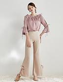 tanie Spodnie-Damskie Zabytkowe Booy-cut / Typu Chino Spodnie Jendolity kolor Wysoki stan / Wyjściowe / Praca