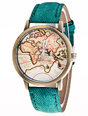 cheap Quartz Watches-Men's / Women's Fashion Watch Chinese Casual Watch Leather Band Vintage / World Map Black / White / Blue