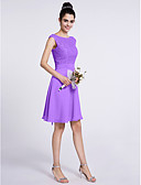 cheap Bridesmaid Dresses-A-Line Scoop Neck Knee Length Chiffon / Lace Bridesmaid Dress with Lace by LAN TING BRIDE®