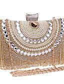 hesapli Maksi Elbiseler-Kadın's Kristaller / Yapay Elmaslar Polyester Gece Çantası Yapay elmas kristal gece çantaları Geometrik Siyah / Gümüş / YAKUT