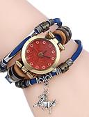 baratos Relógio Esportivo-Mulheres Relógio Casual Relógio Esportivo Relógio de Moda Quartzo Criativo Punk Couro Legitimo Banda Analógico Vintage Casual Boêmio Preta / Branco / Azul - Marron Vermelho Azul