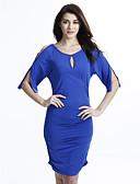 hesapli Büyük Beden Elbiseleri-Kadın's Büyük Bedenler Yarasa Kol Bandaj Elbise - Solid Yüksek Bel