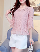 cheap Women's Blouses-Women's Going out / Beach Boho Cotton Blouse - Solid Colored / Silk / Summer / Fall / Lace