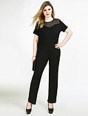 cheap Women's Jumpsuits & Rompers-Women's Plus Size Party / Daily / Work Vintage Black Jumpsuit, Solid Colored Mesh XXXXL XXXXXL XXXXXXL Short Sleeve