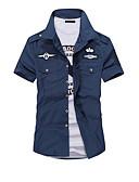 baratos Biquínis e Roupas de Banho Femininas-Homens Camisa Social Militar Sólido Colarinho Clássico Delgado