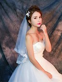 cheap Wedding Veils-One-tier Lace Applique Edge Wedding Veil Elbow Veils Fingertip Veils 53 Appliques Pattern Lace Tulle